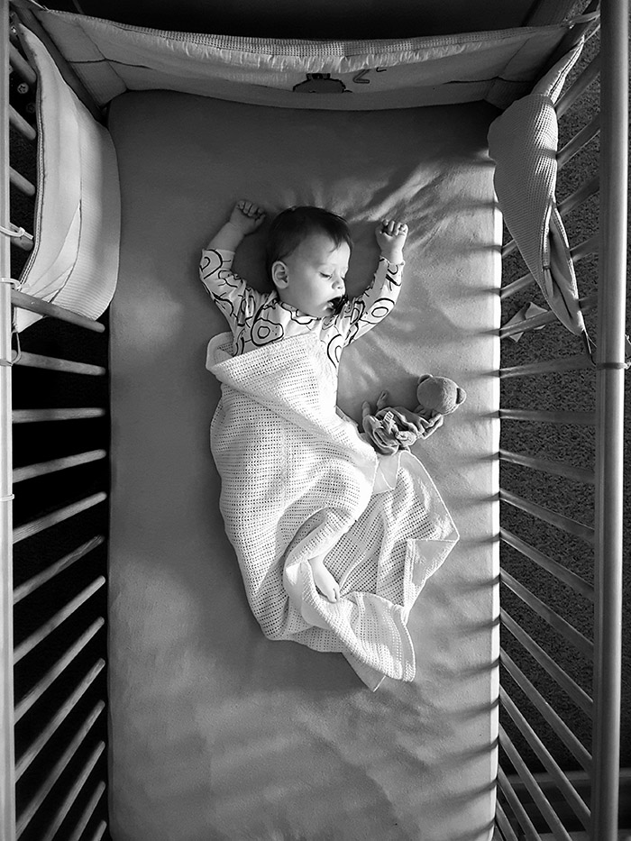 BAby sleeping phone photo